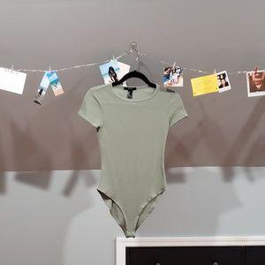 Green Waffle Knit Bodysuit